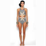 Women's Geometric Halter One-Piece Swimsuit