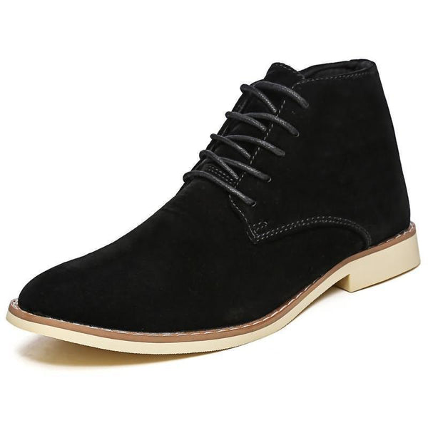 Men's Reverse Suede Pointed-Toe Lace-Up Martin High Top