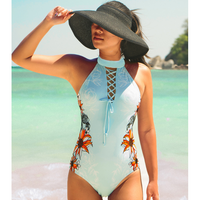 Women's One-Piece Floral Siamese Swimsuit