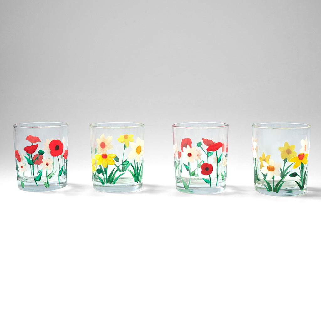 Poppy, Daisy & Daffodil Lowball Glasses