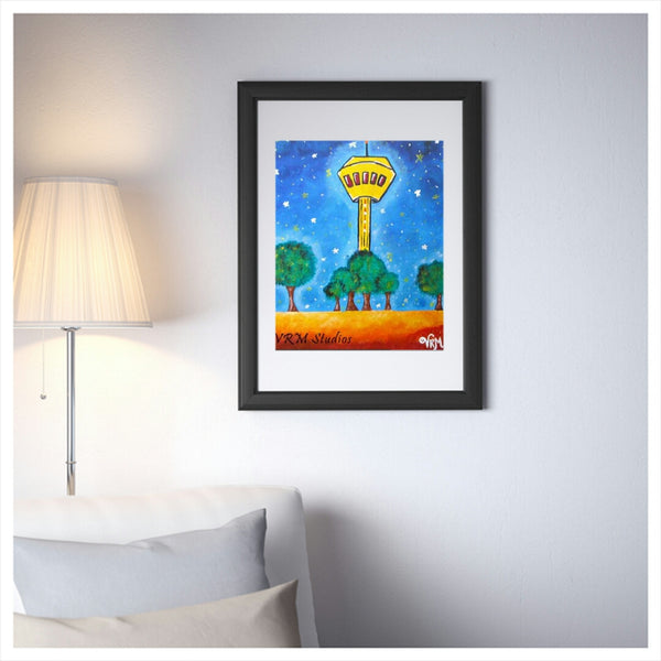What A View!, folk art print on quality acid free photo paper, unmatted or matted