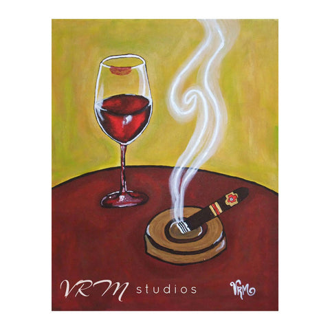 Wine and Smoke, folk art print on quality acid free photo paper, unmatted or matted
