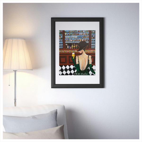 Beauty and The Beer, folk art print on quality acid free photo paper, unmatted or matted