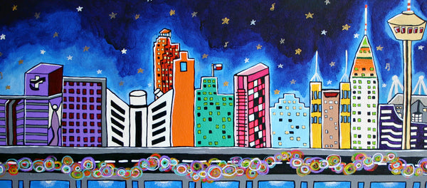 Urban Night Study, folk art print on lustre photo paper, unmatted or matted