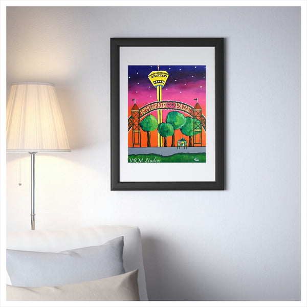 The Park At Dusk, folk art print on quality acid free photo paper, unmatted or matted