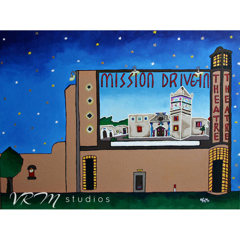 Catchin' A Flick at Mission, folk art print on quality acid free photo paper, unmatted or matted