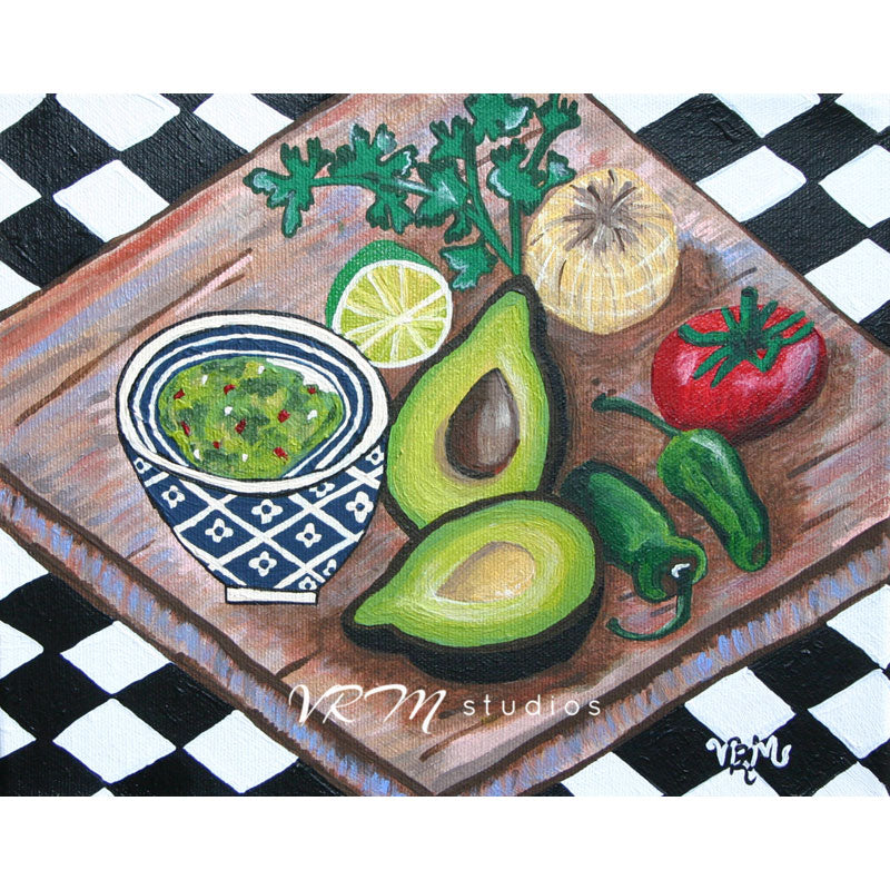 Guacamole Snack, mexican folk art print on lustre photo paper, unmatted or matted