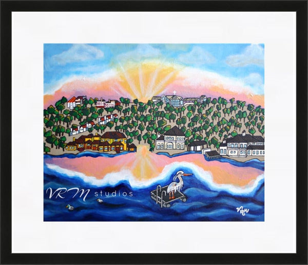 Morning View (Horseshoe Bay, TX), folk art print on quality acid free photo paper, unmatted or matted