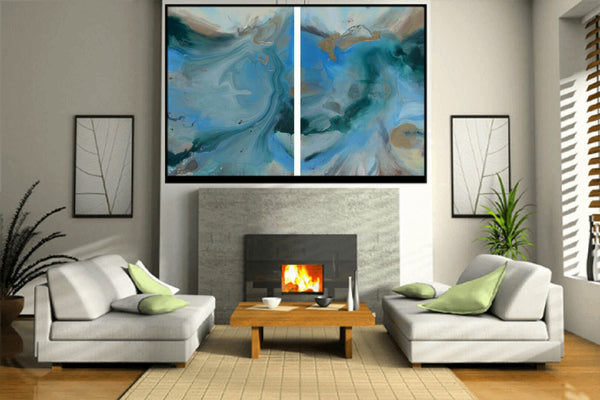 Waves of Change, original fluid painting on canvas, diptych, 36x54 inches (set of two)