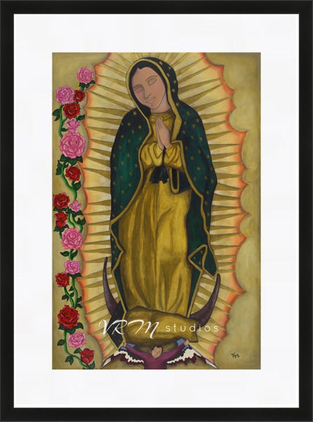 La Virgen, mexican folk art print on lustre photo paper, unmatted or matted