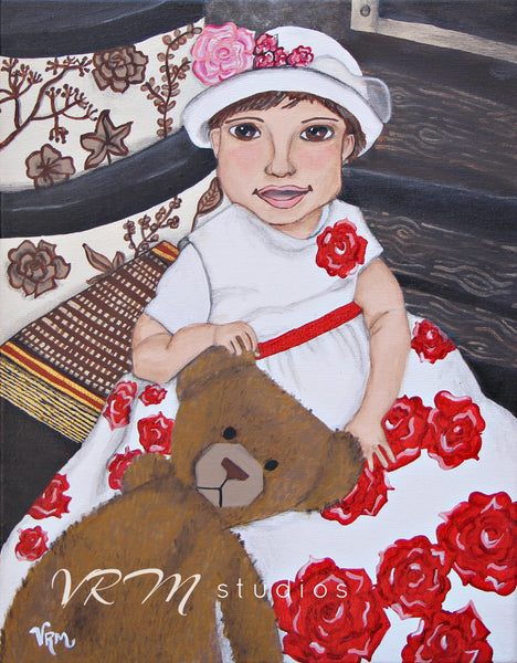 Rose Baby, folk art print on quality acid free photo paper, unmatted or matted