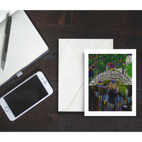 A Riverwalk Christmas, blank greeting card with envelope