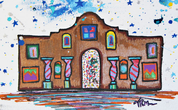 Alamo Stars, mexican folk art print on lustre photo paper, unmatted or matted