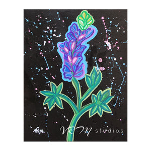 Neon Bluebonnet, original folk art painting on black canvas, 8x10 inches