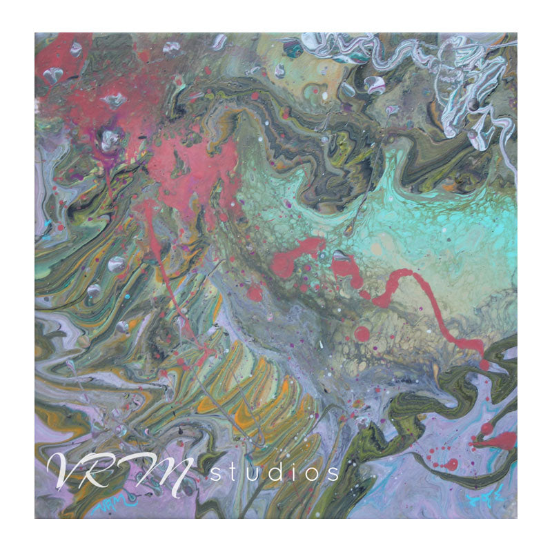 Squiggle, original fluid painting on canvas, 12x12 inches