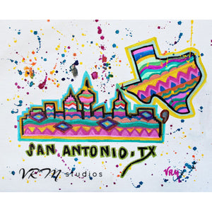 San Antonio Fiesta Sky, folk art print on lustre photo paper, unmatted or matted