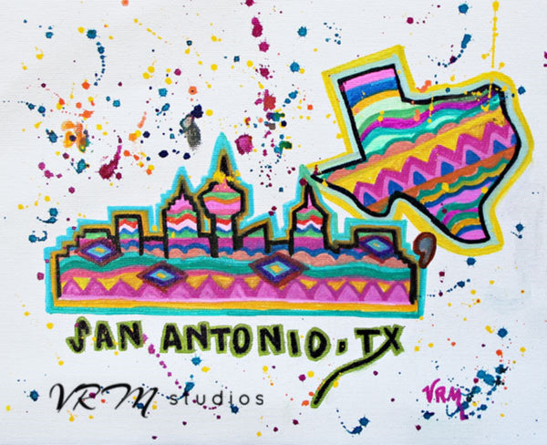 San Antonio Fiesta Sky, original folk art painting on canvas sheet, matted, 11x14 inches