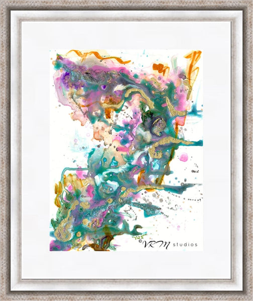 Anew, original fluid art painting on yupo paper, matted, 11x14 inches