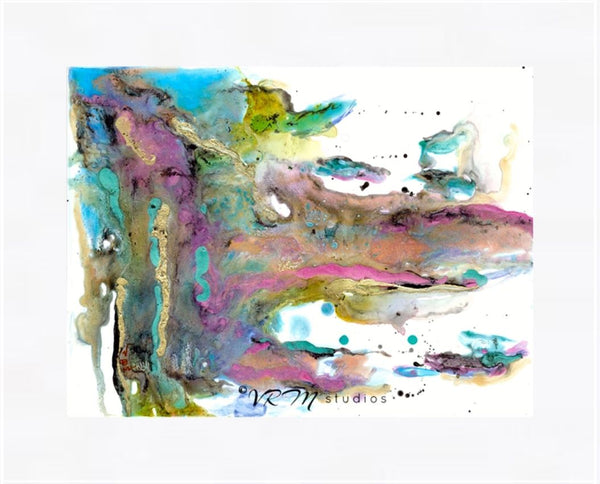 Wolf, original fluid art painting on yupo paper, matted, 11x14 inches