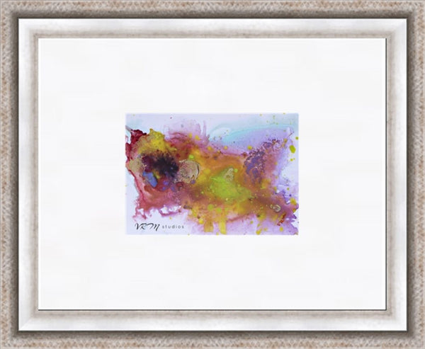 Zesty, original fluid art painting on photo paper, matted, 11x14 inches