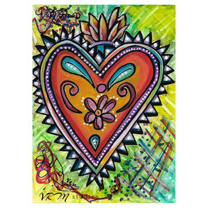 Hearts on Fire, original folk art painting on photo paper, matted, 11x14 inches