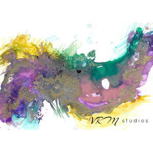 Mardi Gras Mask, original fluid art painting on photo paper, matted, 11x14 inches