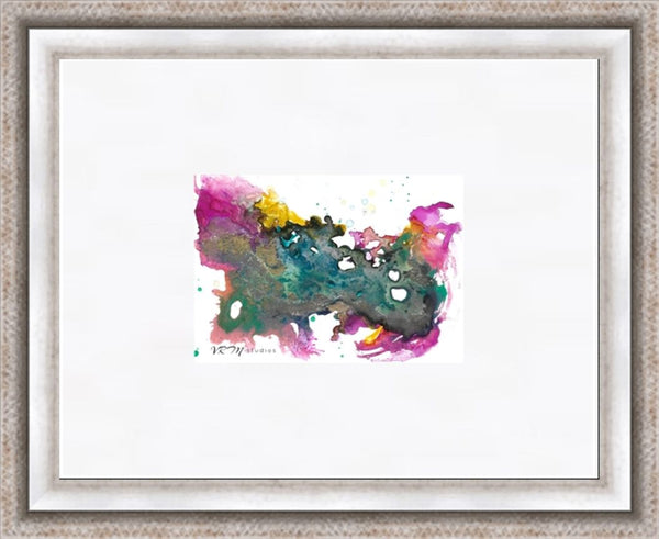Pop, original fluid art painting on photo paper, matted, 11x14 inches