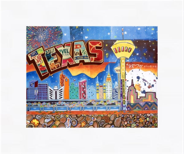In The Heart Of Texas, folk art print on lustre photo paper, unmatted or matted