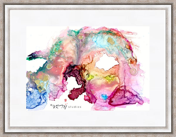 Pisces Dreams, original fluid art painting on photo paper, matted, 18x24 inches