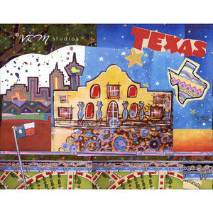 Texas Star, folk art print on lustre photo paper, unmatted or matted