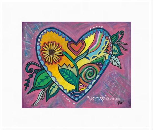 Seeds of Love, folk art print on lustre photo paper, unmatted or matted