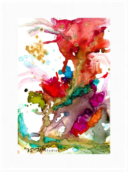 Color Paradise, original fluid art painting on photo paper, matted, 18x24 inches