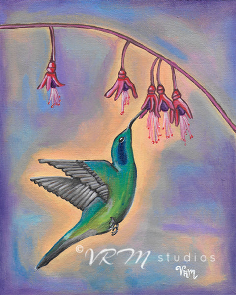 Hummingbird Heaven, folk art print on lustre photo paper, unmatted or matted