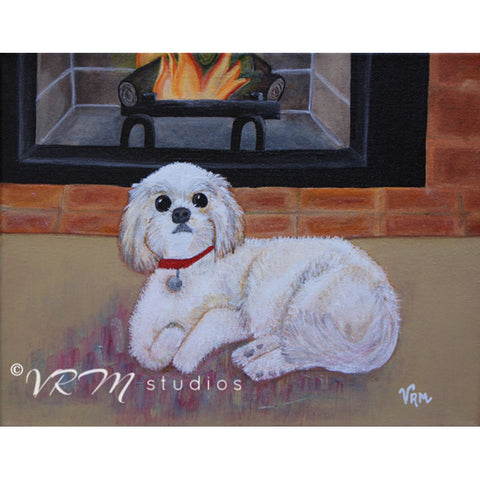 Fireside Cuddles, folk art print on lustre photo paper, unmatted or matted