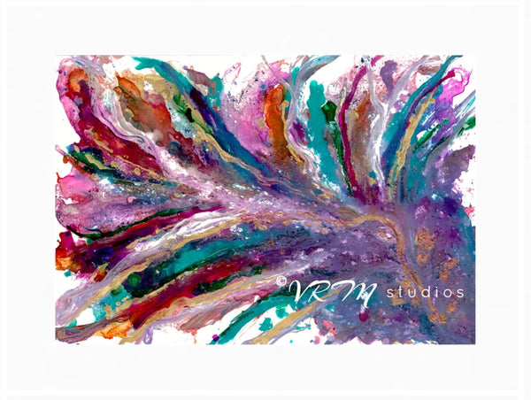 Fabulous Feather, original fluid art painting on photo paper, matted, 18x24 inches
