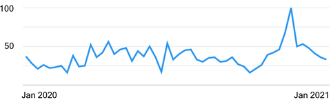 Google Search over Time for Package Theft