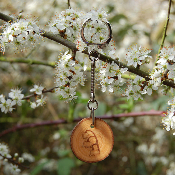 Real Wood Keyring and Card - Happiness/Joy - Lily of the Valley