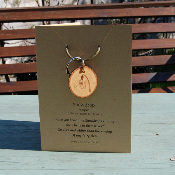 Real Wood Keyring and Card - Hope -  Snowdrop