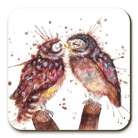 Loved Up Owls Coasters Twin Pack