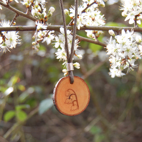 Real Wood Pendant and Card - Happiness/Joy - Lily of the Valley