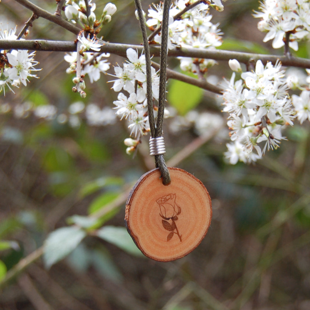 Real Wood Pendant and Card - Love - Rose