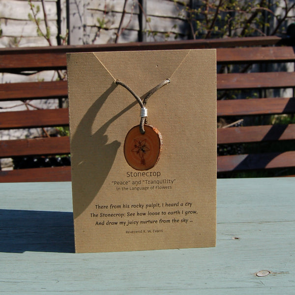 Real Wood Pendant and Card - Peace/Tranquillity - Stonecrop