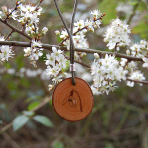 Real Wood Pendant and Card - Hope -  Snowdrop
