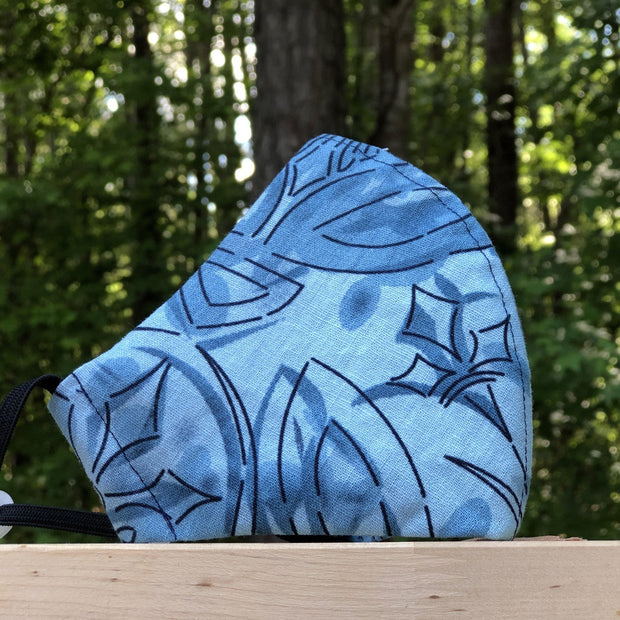 Fabric Face Mask (Blue Abstract)-Fabric Mask-Handcrafted Joy Boutique-Handcrafted Joy Boutique