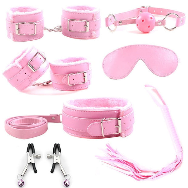 7 Pcs/set BDSM Bondage Sex Products Adult No Vibrator Sex Toys For Women Couples Handcuffs Nipple Clamps Anal Erotic Sex Shop