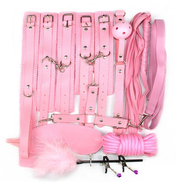 10 pcs bdsm bondage Sex Toys for Couples Exotic Accessories PU BDSM Sex Bondage Set Sexy Handcuffs Whip Rope  Sex Products