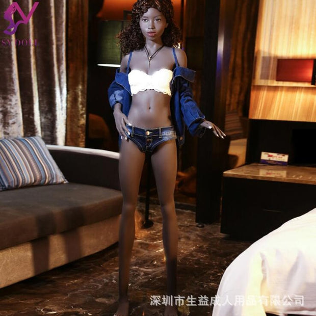 165 flat chest black full silicone entity doll with skeleton male sex toys masturbation device