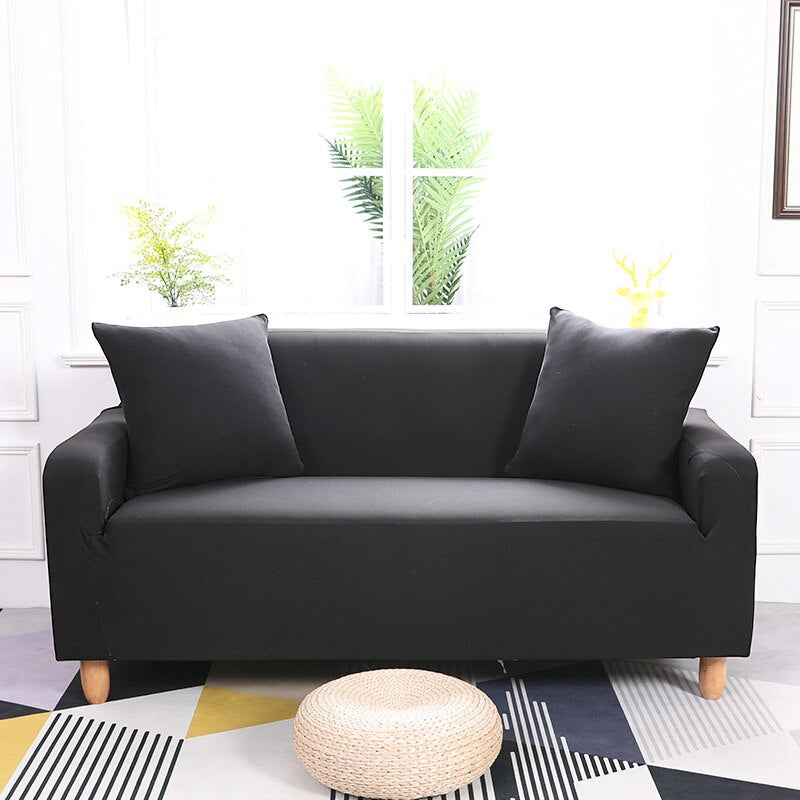 Evie Solid Black Sofa Cover