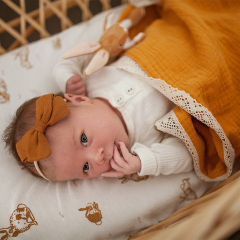 Saffron organic muslin blanket with lace trim
