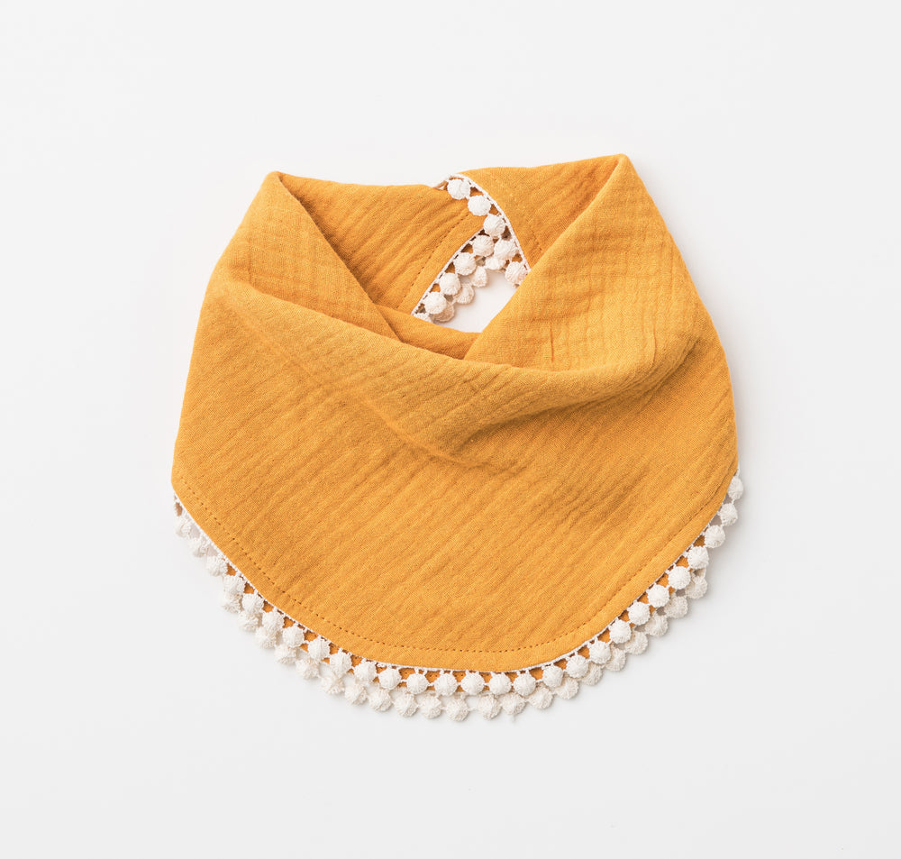 Organic Muslin Bib with Pompom trim in Saffron